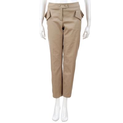 SCERVINO 卡其側打摺設計棉麻九分褲