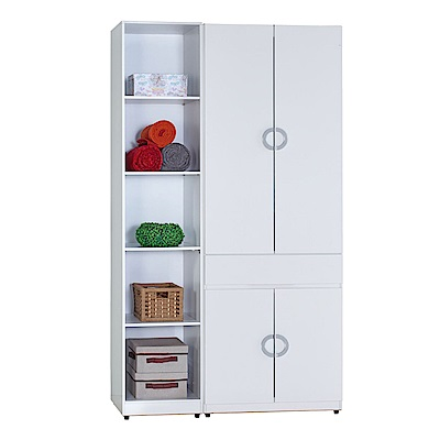 AT HOME-凱倫4尺白色兩件組合衣櫃[中抽掀鏡+五格](110*54*197cm)
