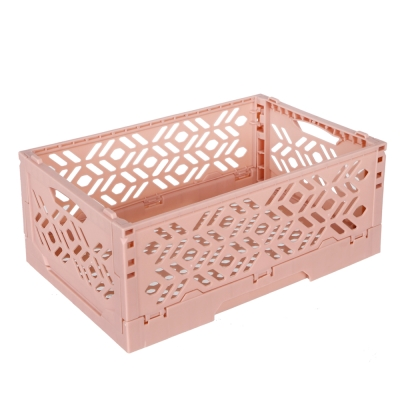 居家達人 創意摺疊式萬用收納盒/置物籃(深粉)_2入