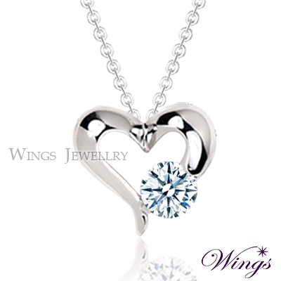 Wings 心戀 完美八心八箭方晶鋯石 美鑽項鍊