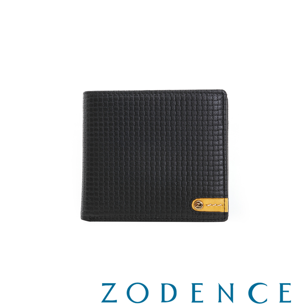 ZODENCE MAN 義大利牛皮系列低調配色LOGO拉鍊零錢袋短夾 織紋黑