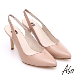 A.S.O 性感女伶 全真皮鏡面後拉帶高跟鞋  藕粉