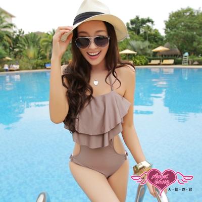 天使霓裳 簡約時尚 一件式連身泳衣(咖啡M~XL)