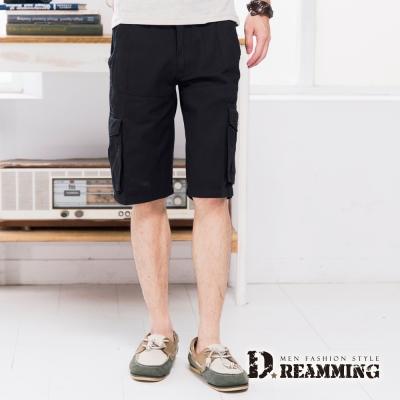 Dreamming 韓版修身多口袋純棉休閒短褲-黑色