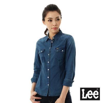 Lee 牛仔襯衫101+合身縫補-女款-藍