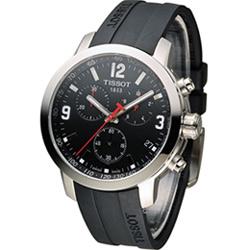 TISSOT PRC 200 競速時尚運動錶-黑/42mm