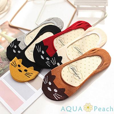 AQUA-Peach-撞色貓咪防滑船襪-1組四入