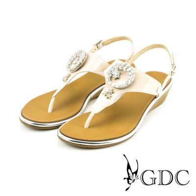 GDC-日月星辰水鑽漆皮楔型厚底T字夾腳涼拖鞋-粉色