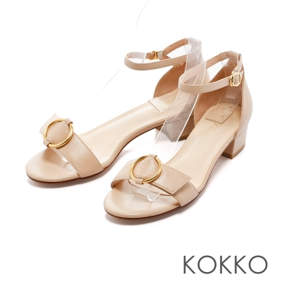 KOKKO-復古圓環真皮踝帶粗跟涼鞋-杏膚裸