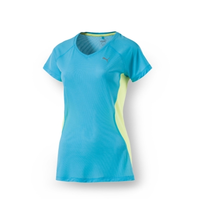 PUMA 女性慢跑系列拼接色塊短袖T恤-珊瑚藍