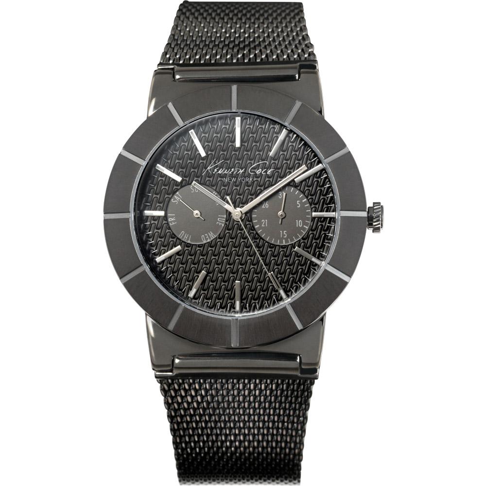 Kenneth Cole 榮耀之時雙眼鍊帶腕錶-鐵灰/43mm