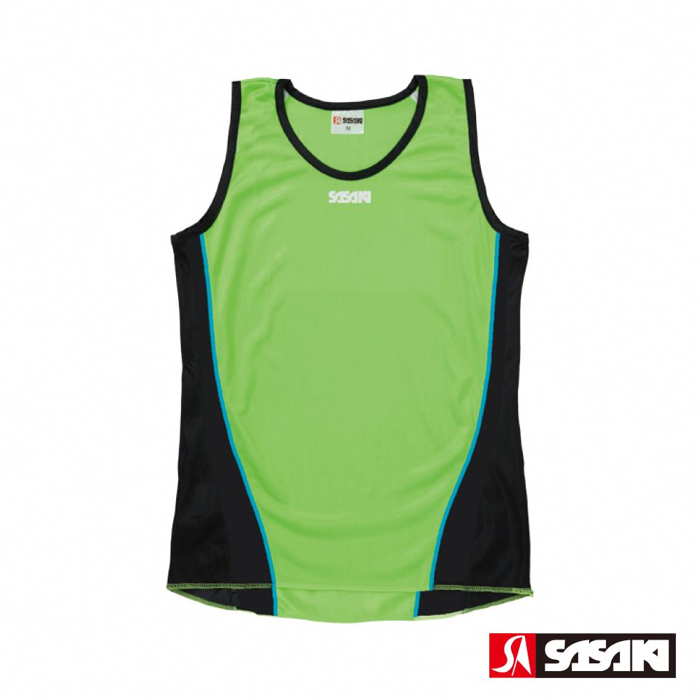 SASAKI 吸濕排汗專業田徑背心-女-艷綠/黑/亮藍