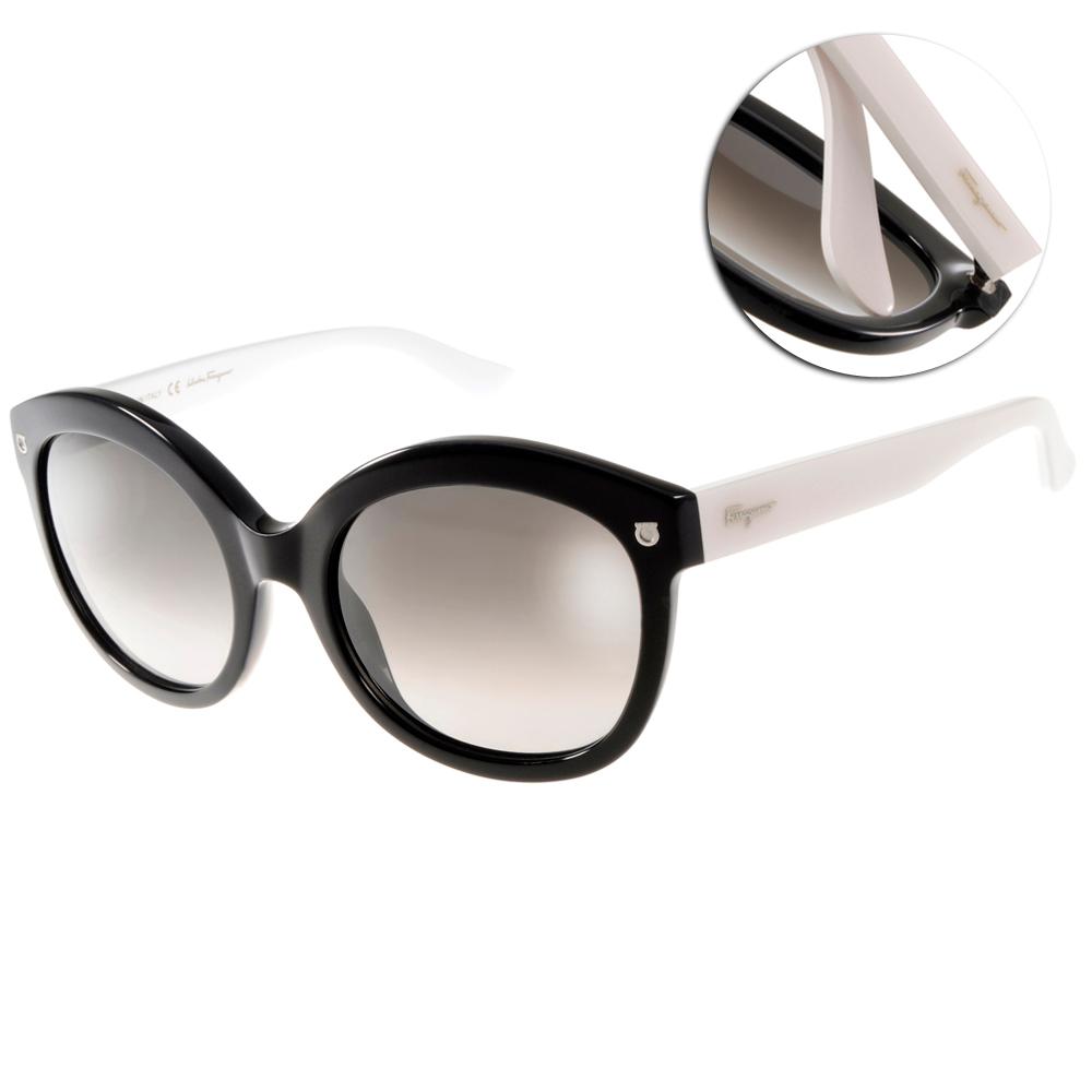 Salvatore Ferragamo太陽眼鏡 LOGO款/黑-白#SF677S 961