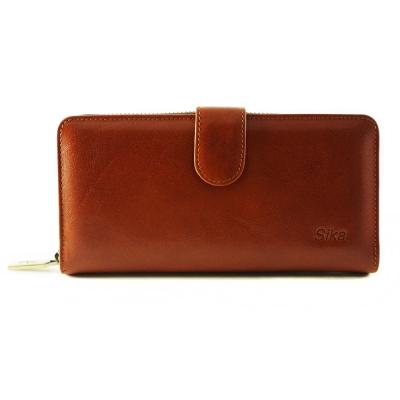 Sika - 義大利時尚真皮拉鍊壓扣長夾A8251-01 - 原味褐