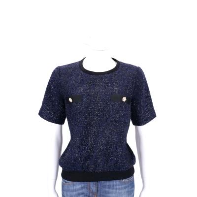 EDWARD ACHOUR PARIS 深藍色花朵飾短袖毛呢上衣