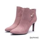 達芙妮DAPHNE 短靴-串珠拼接絨布尖頭細高跟踝靴-粉紅