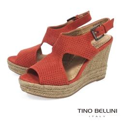 Tino Bellini 性感鏤空曲線魚口楔形涼鞋 _橘