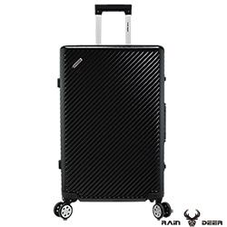 RAIN DEER 時尚斜紋20吋PC+ABS鋁框行李箱-曜石黑