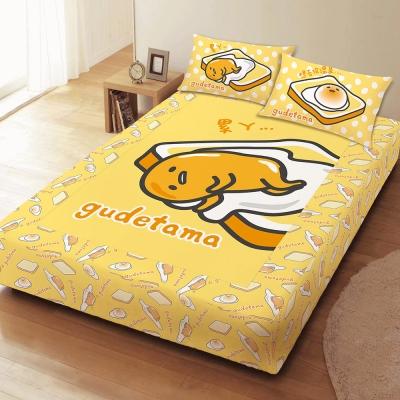 享夢城堡 雙人床包枕套5x6.2三件組-蛋黃哥gudetama 吐司蛋黃哥-黃