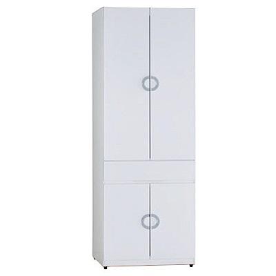 品家居 德亞莉2.3尺四門單抽衣櫃-70x54x197cm免組