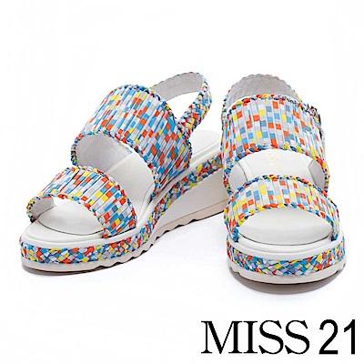 涼鞋 MISS 21  盛夏漾彩條紋編織楔型涼鞋-彩