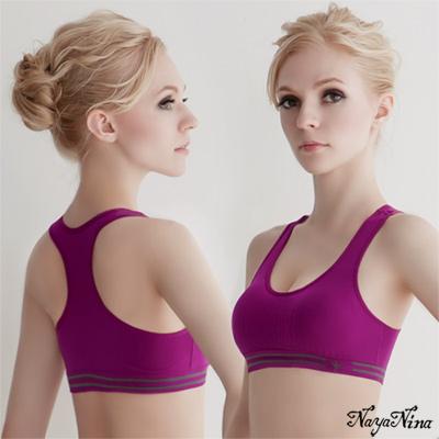 運動內衣-無鋼圈-撞色工字背內衣-葡萄紫L-Naya-Nina
