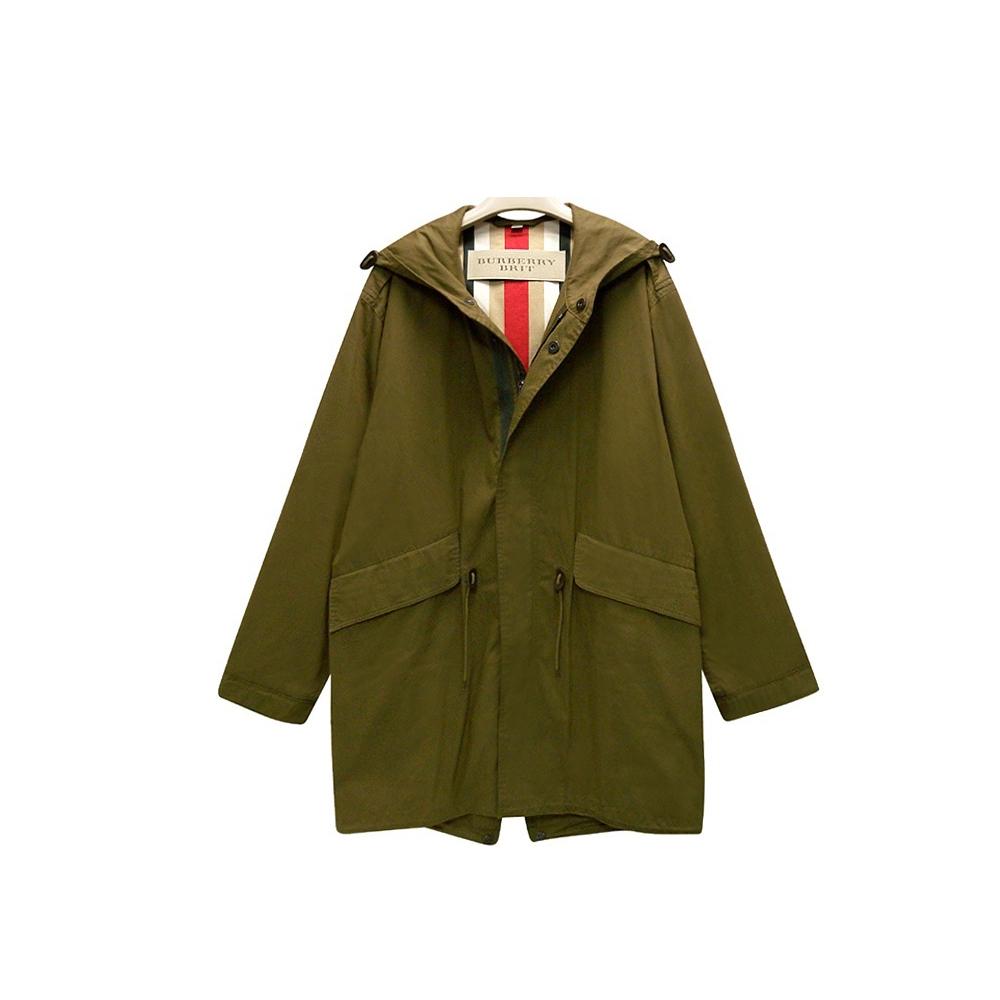 BURBERRY 經典風衣外套 軍綠色單排釦紳士長版外套