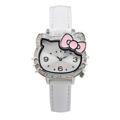 HELLO KITTY 凱蒂貓璀璨晶鑽蝴蝶結手錶-白/35mm