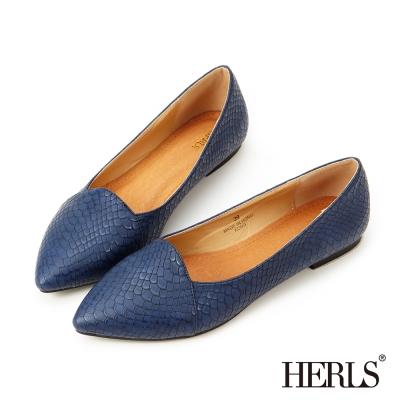 HERLS 內真皮蛇紋尖頭樂福鞋-藍色