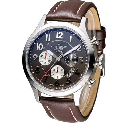 梭曼 Revue Thommen XLARGE系列復古機械計時腕錶-咖啡色/45mm
