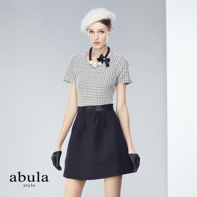 abula-style-圓領短袖格子針織布拼素面洋裝