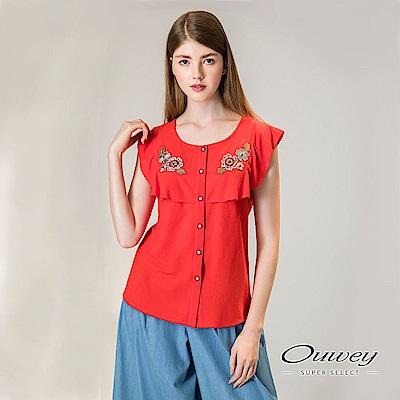 OUWEY歐薇 花朵裝飾荷葉造型無袖上衣(紅)