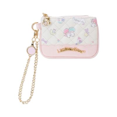 Sanrio 雙星仙子菱格壓紋PU皮革票夾零錢包附可伸縮掛鍊(好朋友)