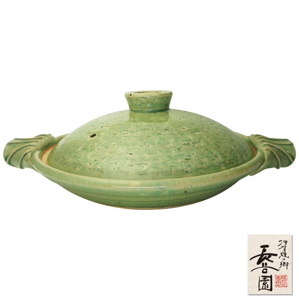 日本長谷園伊賀燒 綠釉淺型調理鍋