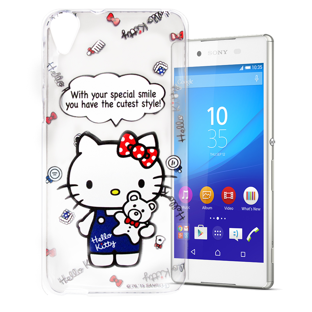 Hello Kitty Sony Xperia Z3+ E6553 透明軟式殼 公仔款