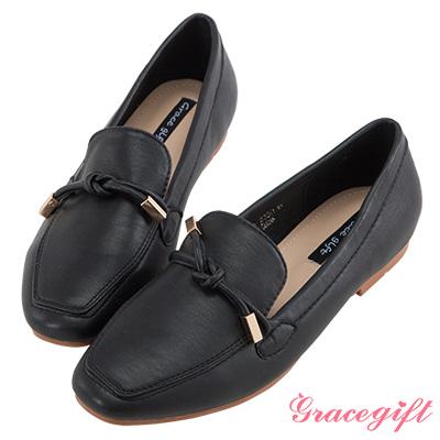 Grace gift-簡約綁結懶人樂福鞋 黑