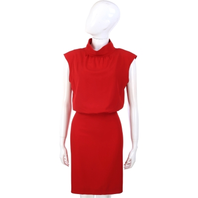 MOSCHINO 紅色小立領露背剪裁洋裝