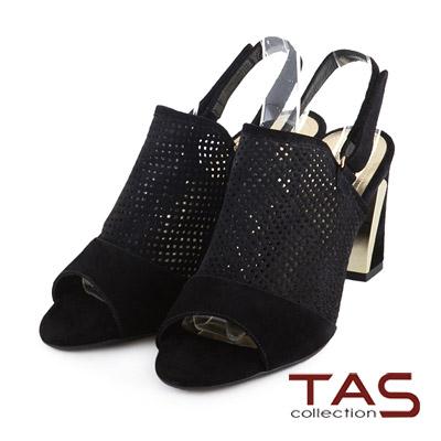 TAS-魚口麂皮鏤空方格後掛式高跟涼鞋-性感黑