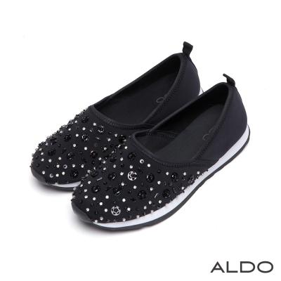 ALDO-星光閃閃圓色水鑽亮片花瓣休閒便鞋-尊爵黑