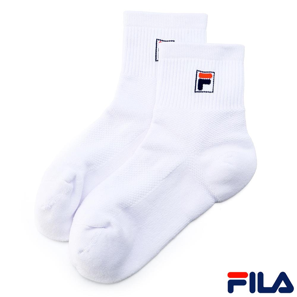 FILA基本款棉質半毛巾短筒襪-白SCR-1001-WT