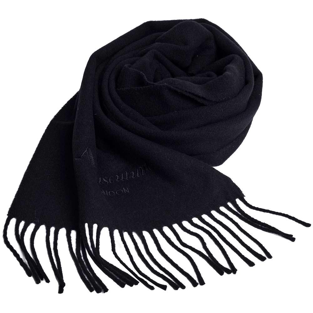 Aquascutum 高質感100%羊毛經典品牌字母LOGO刺繡圍巾(黑)
