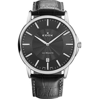 EDOX Les Bemonts 薄曼系列石英腕錶-黑/39mm