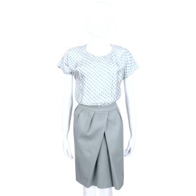 FABIANA FILIPPI 灰綠色絲質拼接短袖洋裝