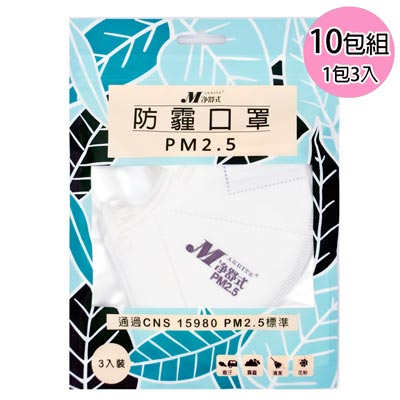 淨舒式 防霾口罩PM2.5 (10包組一包3入)(白)