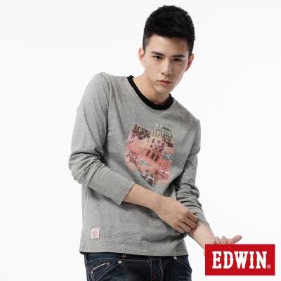 EDWIN-T恤-懷舊相片圓領T恤-男-灰色