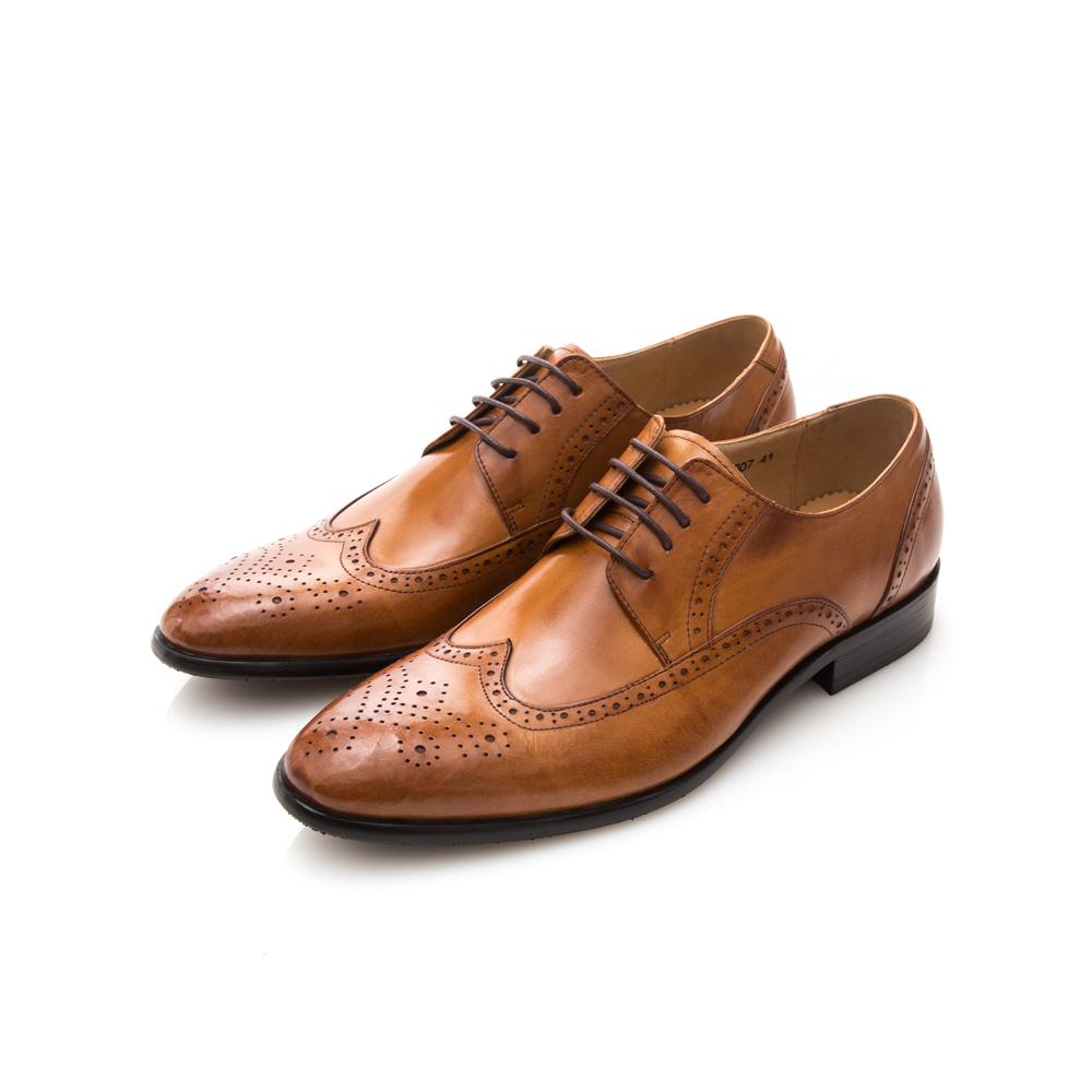 ALLEGREZZA-真皮男鞋-經典魅力-全真皮藝紋雕花尖頭綁帶鞋焦糖色
