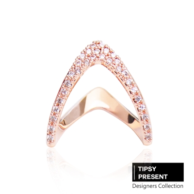 微醺禮物-韓製-鋯石-鍍16K金-V型雙向-戒指