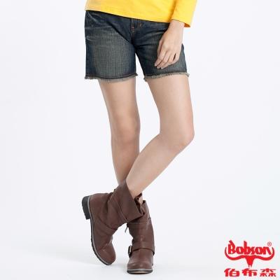 BOBSON 女款反折不收邊短褲(藍166-53)