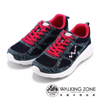 WALKING ZONE 天痕系列飛線針織運動鞋 女鞋-深藍(另有粉、淺綠)