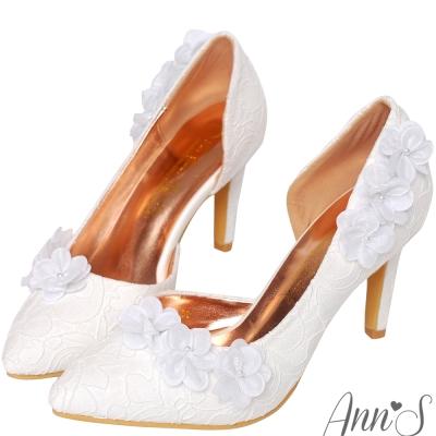 Ann'S Bridal天使花浪漫珍珠花朵蕾絲尖頭跟鞋-白